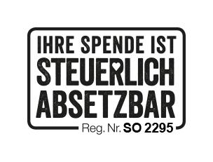 """Text in Rahmen: IHRE SPENDE IST STEUERLICH ABSETZBAR. Reg. Nr. SO 2295. – Das Loch im R des Wortes """"STEUERLICH"""" hat Herzform."""