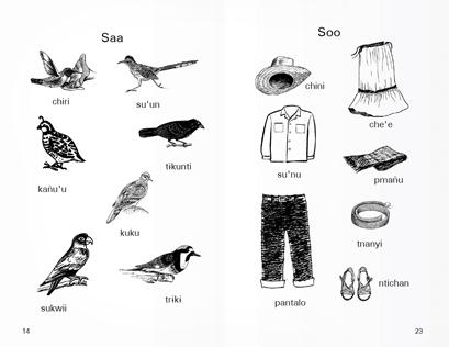 Schwarzweiß-Zeichnungen diverser Vögel (links) und Kleidungsstücke (rechts), darunter je ein Wort. In 2 Ecken: Seitenzahlen.