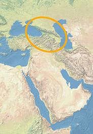Ausschnitt einer Weltkarte in hellen Blau-, Beige- und Grüntönen. Das Kaukasus-Gebirge ist hervorgehoben