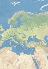 Weltkartenausschnitt in hellen Blau-, Beige- und Grüntönen: Zentral- und Osteuropa wird gezeigt.