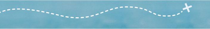 Auf meerblauem Hintergrund verläuft eine gestrichelte Linie, die sich nach rechts wellt und in einem weißen X mündet.