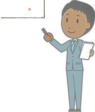 Ein lächelnder Mann (Comicstil) im Anzug hält einige Blätter Papier und leuchtet mit einem Laserpointer auf eine Leinwand.
