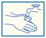 Zwei Hände, die unter einem Wasserhahn gewaschen werden, mit blauen Linien gezeichnet. Blauer Rahmen um das Bild