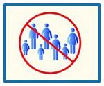 Sieben Symbole von Menschen, blau, in einem roten Kreis eingekreist und durchgestrichen. Blauer Rahmen um das Bild