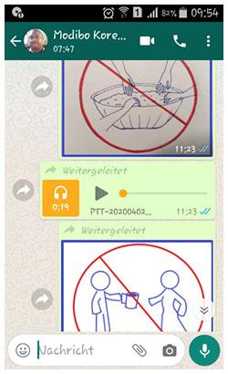 Bildschirmfoto von Handy: Ein Chatverlauf mit einem Afrikaner. Zwei Verbots-Piktogramme und eine Audiodatei wurden geschickt.