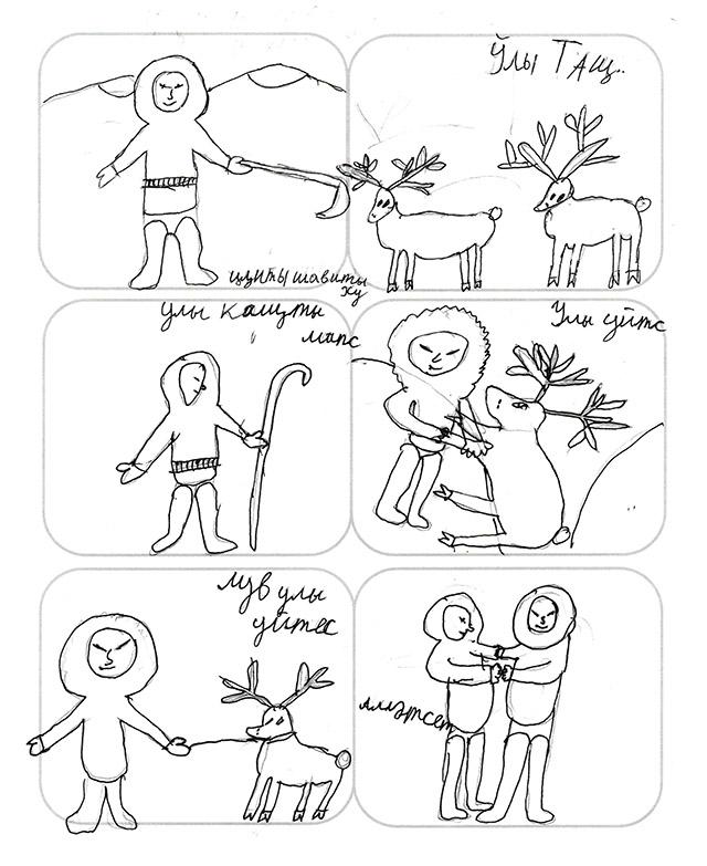 Sechs Comicpanels mit Strichzeichnungen eines Kindes: Ein eingemummter Mann hilft einem Rentier.