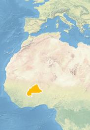 Ausschnitt einer Weltkarte in hellen Blau-, Beige- und Grüntönen. Ein Land im Nordwesten Afrikas ist orange hevorgehoben.
