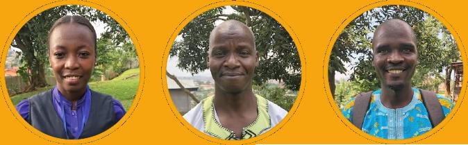 3 Porträtsfotos von Afrikanern: Dame in schwarz-violetter Kleidung, Herr in weiß-neongelbem Hemd, Herr in meerblauem Hemd.
