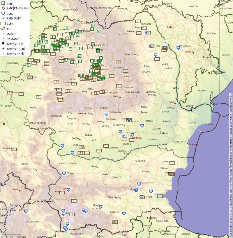 Karte von Rumänien, Bulgarien und Serbien mit Symbolen und einer Legende zu den Symbolen: Es sind Codes für Romani-Dialekte.