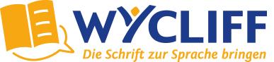 Logo: Orangenes Buch, offen, unten v. Sprechblase eingefasst. Text: WYCLIFF (blau) Die Schrift zur Sprache bringen (orange)