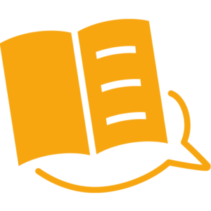 Orangenes, offenes Buch, die rechte Seite beschrieben, die linke leer, unten umfasst von einer Sprechblase