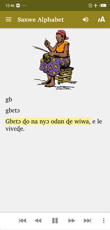 """Screenshot App. Symbolleiste: Menü, """"Saxwe Alphabet"""", Lautsprecher, A's. Dann bunte Zeichnung von Frau beim Korbflechten. Text"""